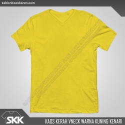 Kaos-polos-kerah-vneck-warna-kuning-kenari