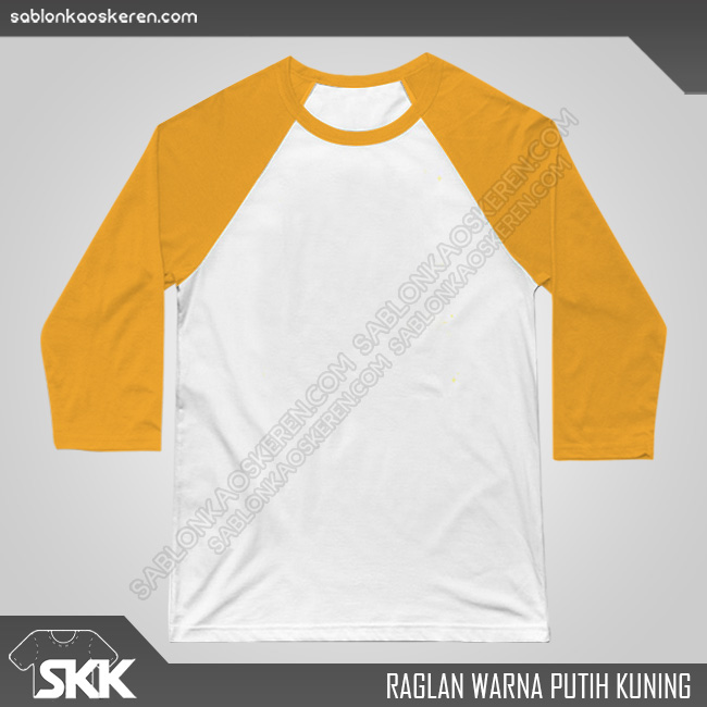 Kaos Raglan Polos Putih Kuning