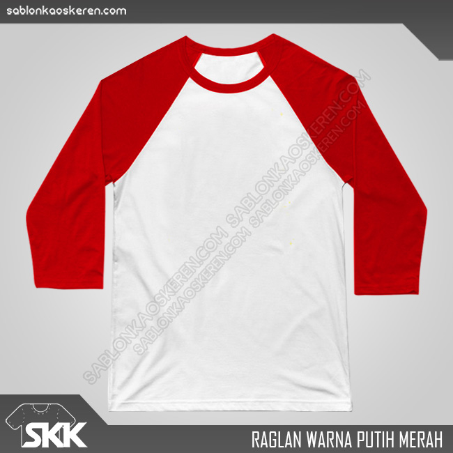 Kaos Raglan Polos Putih Merah