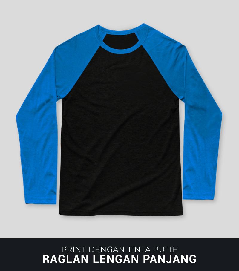 Print Kaos DTG Di Raglan Lengan Panjang